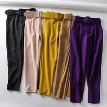 Las mujeres negro elegante pantalones de bolsillos sashes cremallera sólida damas streetwear 2020 casual pantalones 9 colores