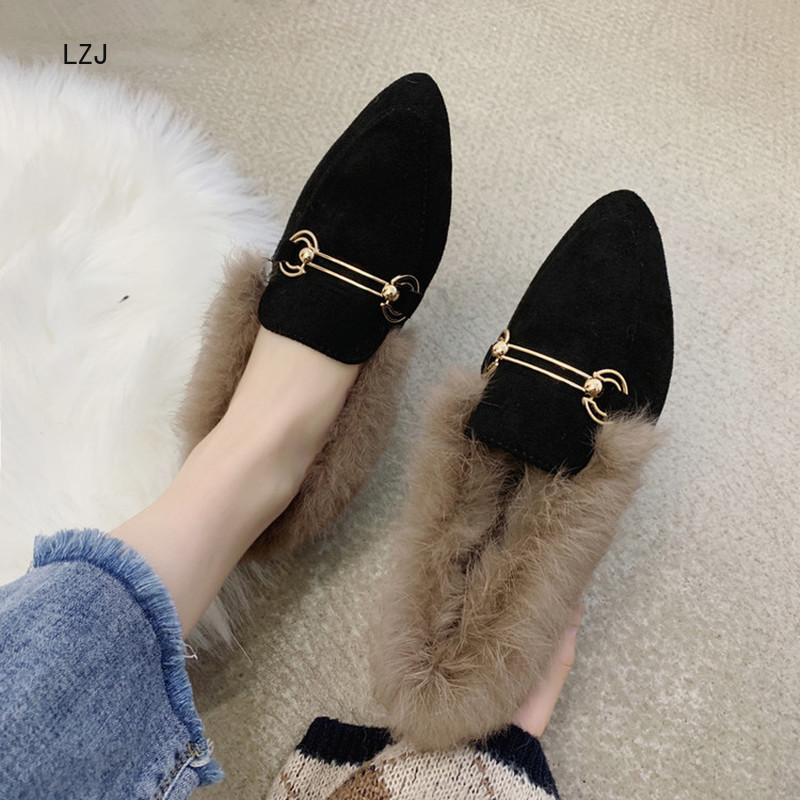 LZJ New 2019 Women's Pointed Shallow Mouth Set Foot Short Plush Warm Fashion Snow Boots Women's Winter Shoes Zapatos De Mujer 44