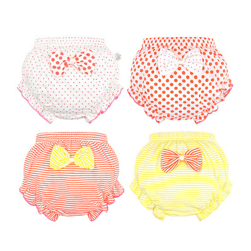 3 Piece/Lot  Kids100%Cotton Panties Summer Girl Baby Infant Newborn Fashion Solid Cute Bow Striped Dots Underpants 0-2 Year Old