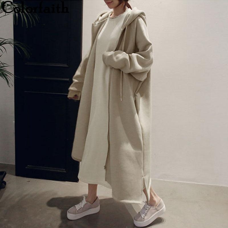 Colorfaith New 2019 Autumn Winter Women Jackets Hooded Zipper Prairie Chic Fashionable Korean Style Casual Long Coat Outerwear J