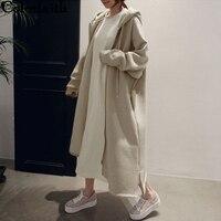 Colorfaith New 2019 Autumn Winter Women Jackets Hooded Zipper Prairie Chic Fashionable Korean Style Elegant Casual Long Coat Outerwear JK9655