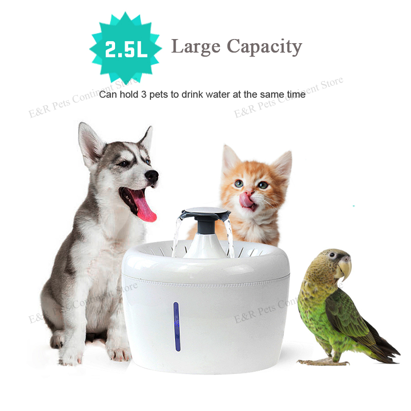 Automatic Cat Water Fountain For Pets Water Dispenser Large Drinking Bowl Cat Automatic Apple Drinking Filter 2.5L Capacity