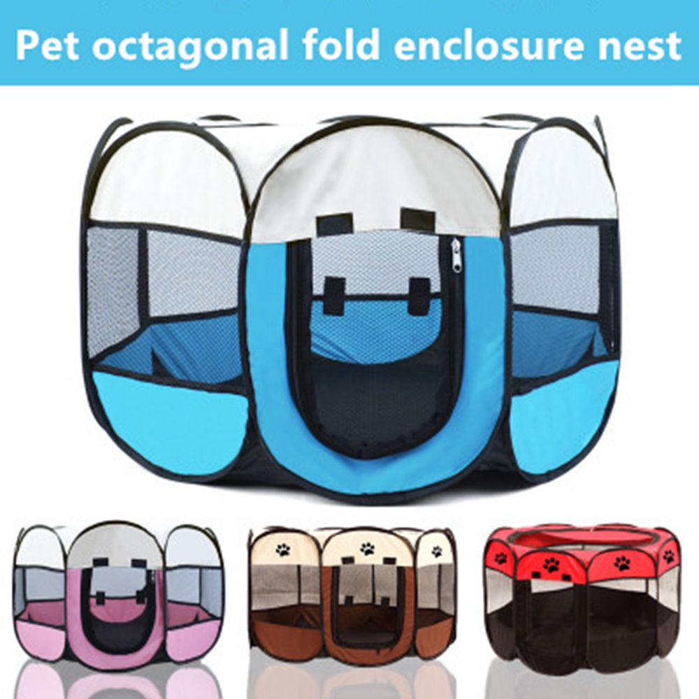 Pet <font><b>Dog</b></font> Playpen Tent Crate Room Foldable Puppy Exercise Cage Octagon FenceFoldable Indoor Puppy Cag Mesh Shade <font><b>Cover</b></font> Nest <font><b>Kennel</b></font> image