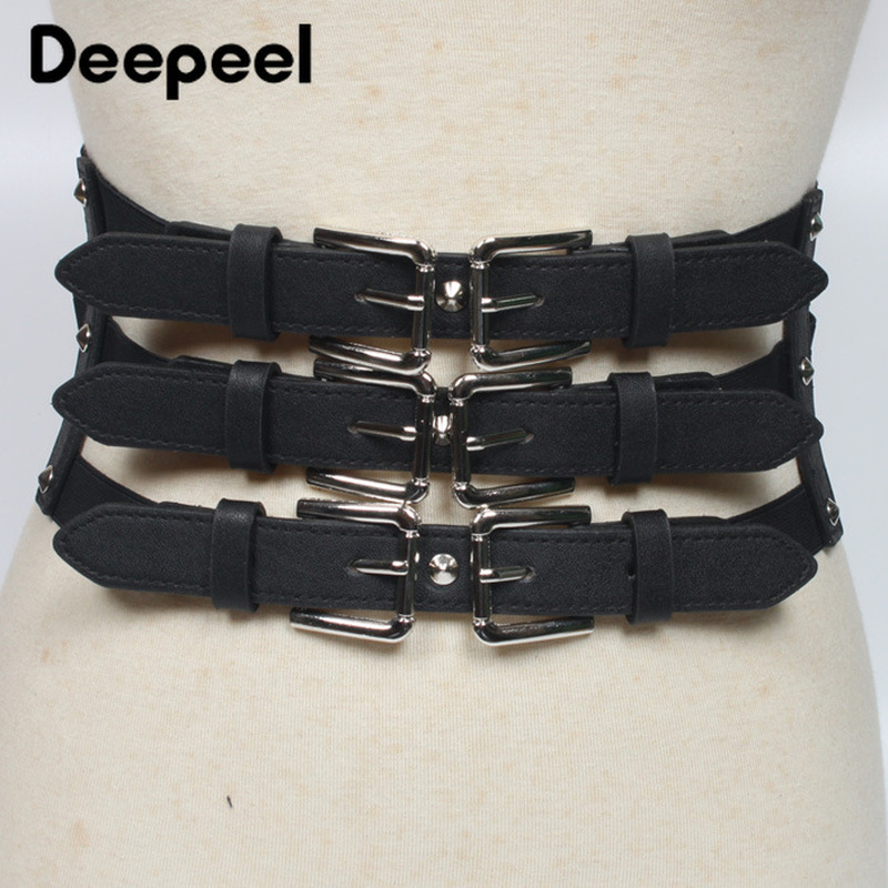 Deepeel 12cm*65cm Wild Lady Elastic Cummerbunds Decoration Simple Dress Personality Casual Pu Leather Black Cummerbunds YK635