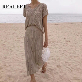 REALEFT 2021 nowe letnie czeskie damskie spódnice garnitury Knitting szydełkowe koszule i eleganckie proste długie spódnice damskie garnitury zestawy damskie tanie i dobre opinie CN (pochodzenie) Lato Stałe Gaza Hak kwiat pusta ARTYSTYCZNY Kolano długość z włókien syntetycznych 31 (włącznie)-50 (włącznie)