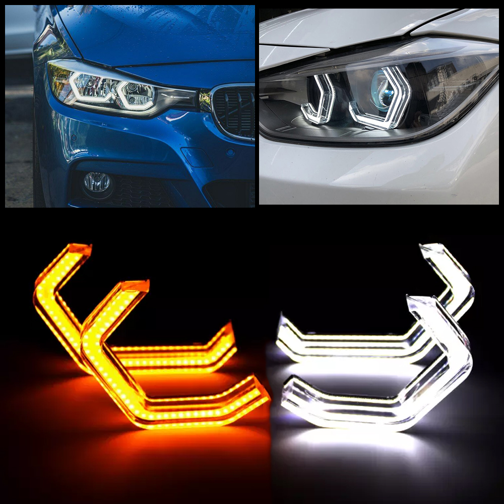LED Angel Eyes For BMW F10 F30 F36 E60 E61 E81 E83 E90 E92 M2 Xenon/Halogen Lens Headlight Concept M4 Iconic DTM Style DRL