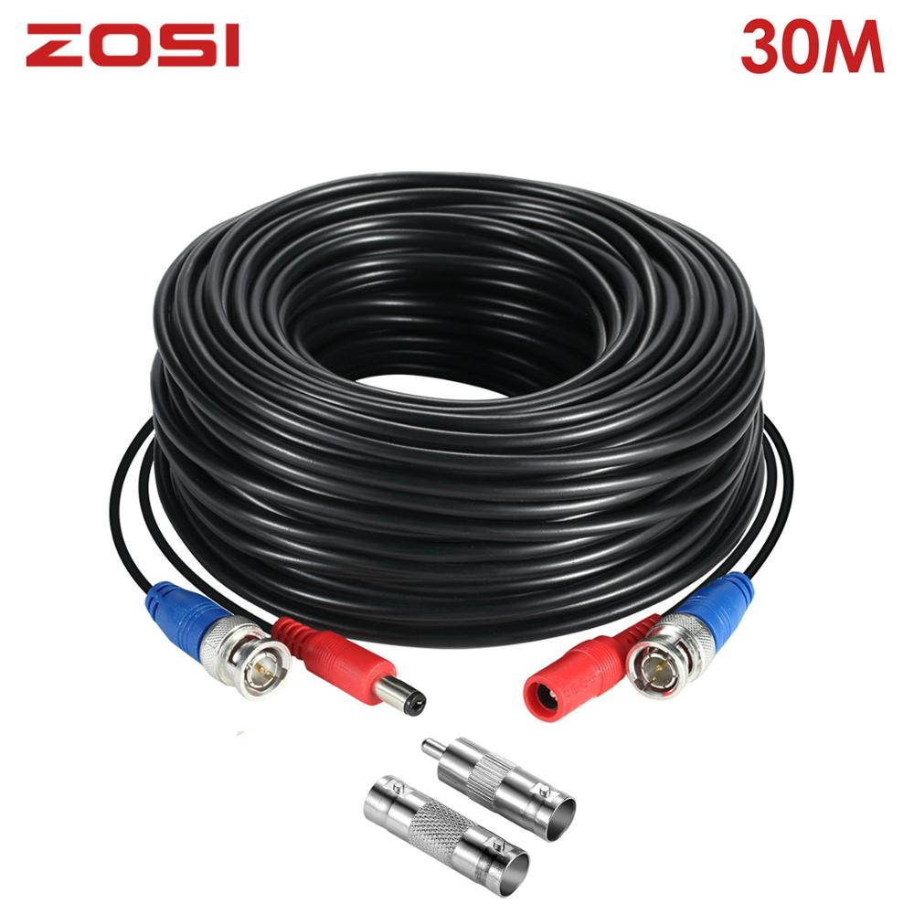 ZOSI 100FT 30M Transmission Connector BNC Video Wire Camera Power Security Cable Videcam For CCTV Surveillance System DVR Kit