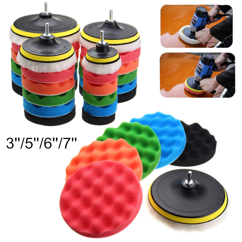 Best 7Pcs/Set 3''5''6''7'' Buffing Sponge Polishing Pad Hand Tool Kit For Car Polisher Compound Polishing Thread Abrasive Tools