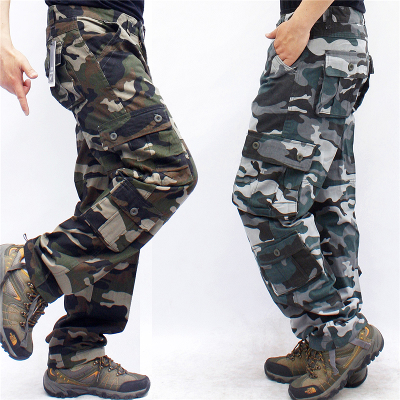 Camouflage Camo Cargo Pants Men Casual Cotton Multi Pocket Long Trousers Hip Hop Joggers Urban Overalls Military Tactical Pants
