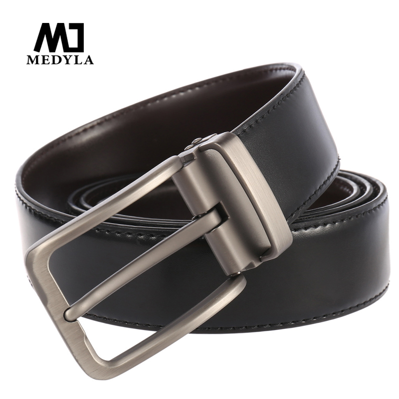 MEDYLA Men's Business Leather Belt Brand Designer Pin Buckle Casual Belt Punch Leather Man Suit Waist Black Brown With Free Ship
