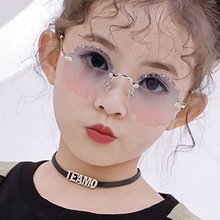 Child Cute Round Rimless Frame Sunglasses Children Kids Gray Pink Blue Lens