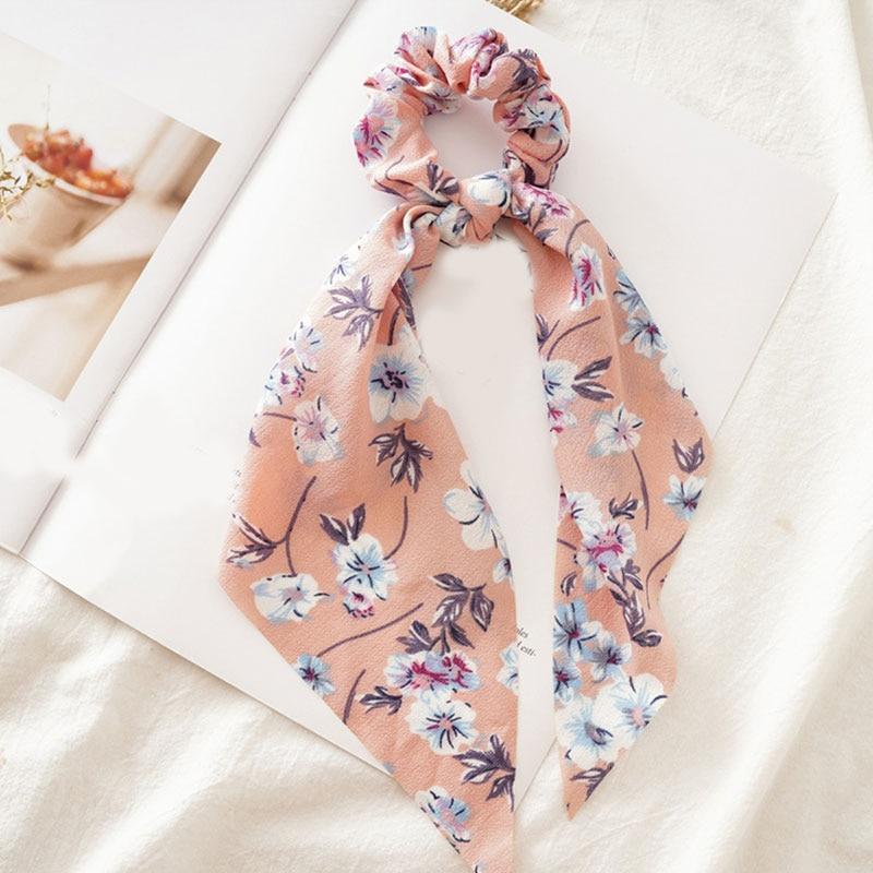 Femmes banderoles chouchous à pois imprimé Floral élastique noeud cheveux corde fille cheveux cravates coréen doux cheveux accessoires chapeaux 34