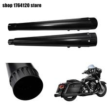 Motorcycle 2Pcs Black Megaphone Slip on Mufflers Exhaust Pipes For Harley Touring Street Electra Glide Road King 2017 2020