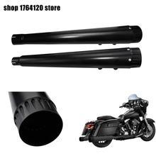 Motorrad 2Pcs Schwarz Megaphon Slip auf Schalldämpfer Auspuff Rohre Für Harley Touring Straße Electra Glide Road King 2017 2020