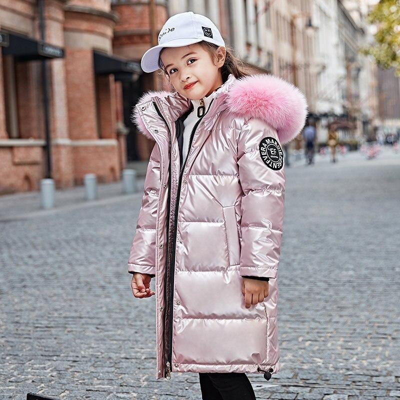 Модная детская куртка-пуховик теплая водонепроницаемая пуховая куртка-парка для девочек Утепленная зимняя верхняя одежда с мехом для дете...