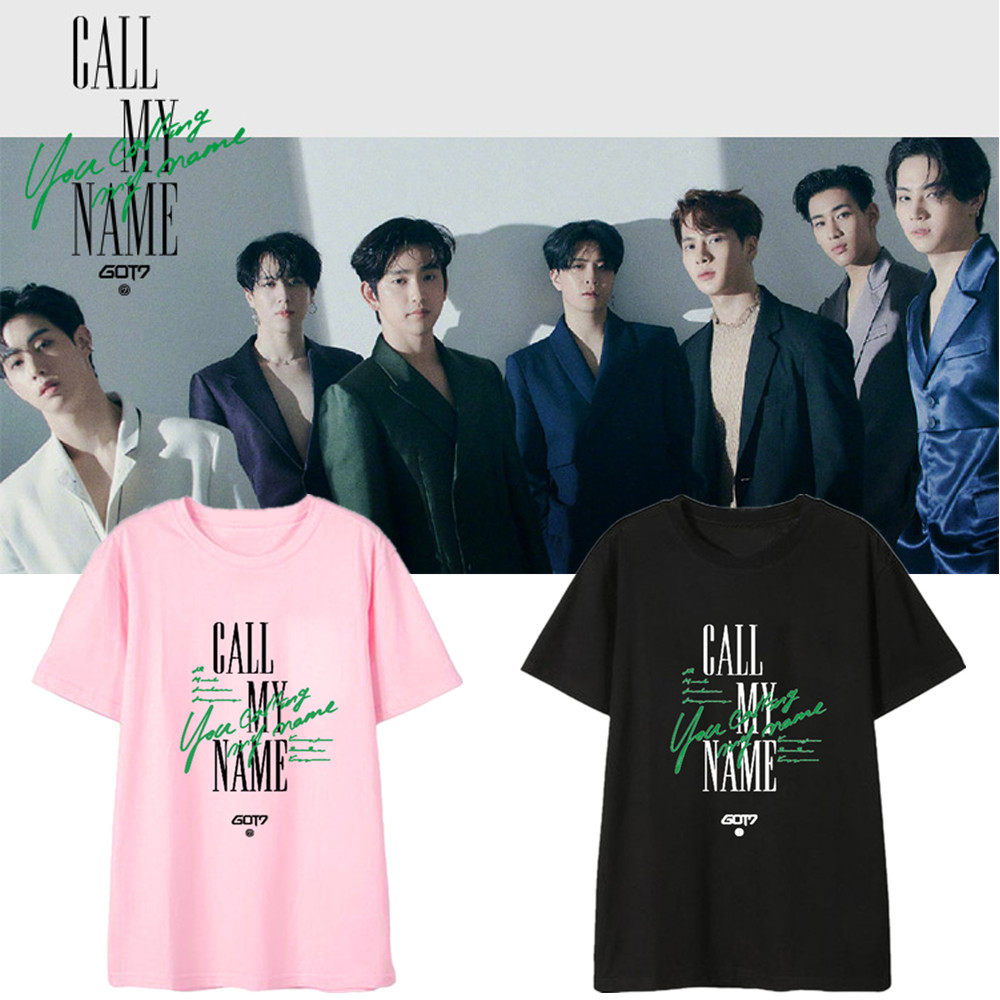 New Korean Fashion Kpop Got7 Album Call My Name Printed T Shirt Men/women Hip Hop Streetwear T-shirt Print Tshirt 90s Top Tees image