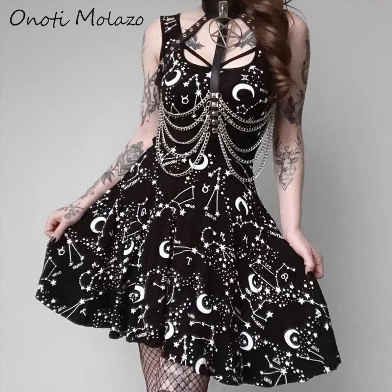 Onoti Molazo Gothic Black Print Mini Dress Women Grunge Aesthetic Harajuku Sexy Vintage Party Summer Dress Vestidos 2019 Autumn