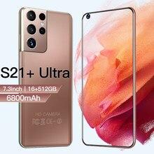 Nova versão galay s21 + ultra 5g 7.3 Polegada smartphone 6800mah desbloquear versão global 24mp 48mp 12gb + 512gb telefones celulares