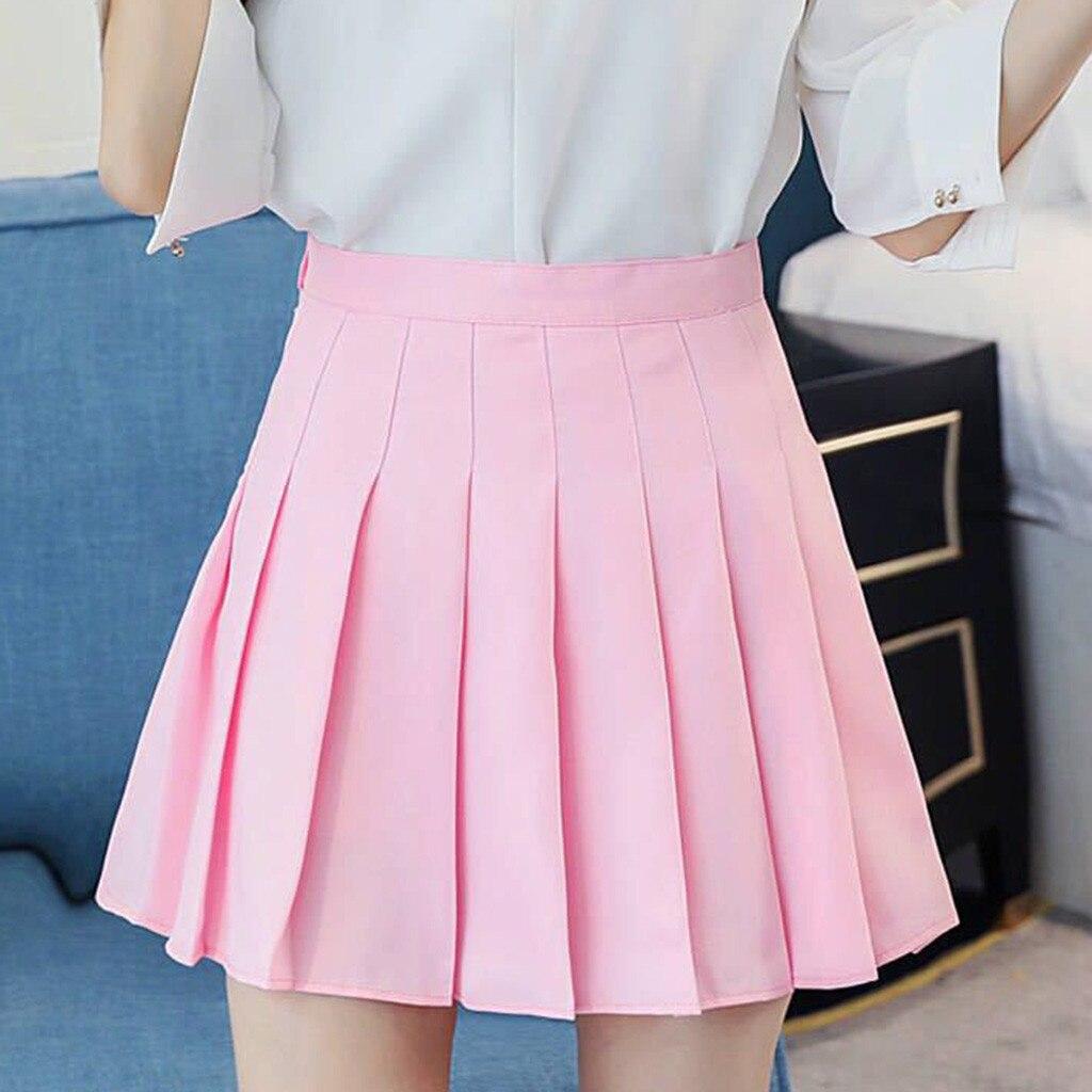 Женская модная мини-юбка, розовая плиссированная атласная юбка, Летние Плиссированные повседневные теннисные юбки с завышенной талией, юбк...