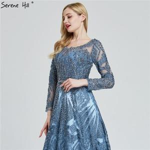 Image 5 - Dubai Luxury Long Sleeves Evening Dresses 2020 Navy Blue O Neck Crystal Formal Dress Design Serene Hill Plus Size LA60900