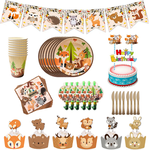 Forest Animal Themed Party Disposable Tableware Paper Plate Cup Napkin Banner Straw Safari Birthday Party decoration supplies