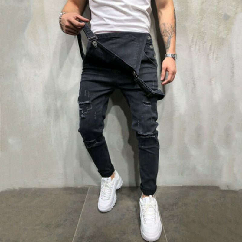 Hirigin Fashion Men's Ripped Jeans Jumpsuits Hi Street Distressed Denim Bib Overalls For Man Suspender Pants Size S-XXXL