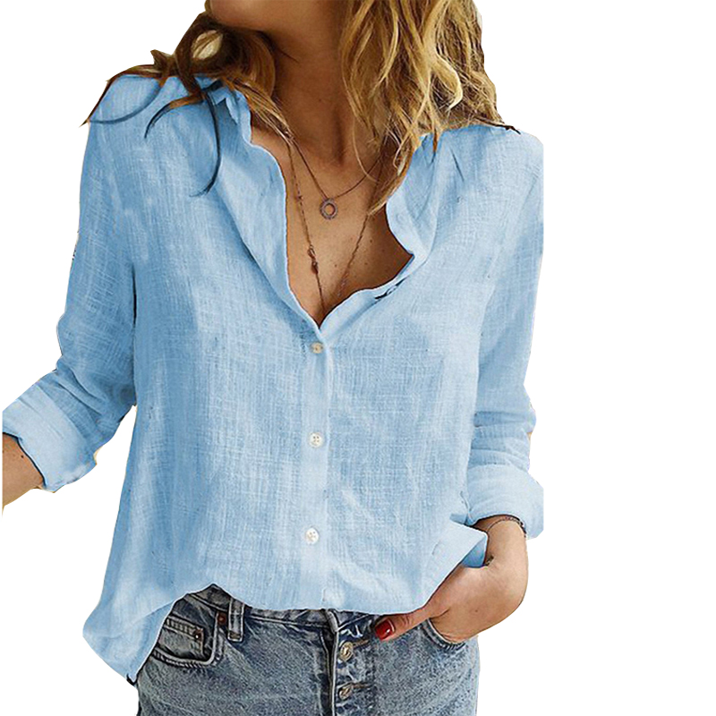 Womens Tops Blouses Spring Autumn Solid Leisure Shirts Button V Neck Cardigan Top Loose Long Sleeve Cotton Linen Shirt Plus Size