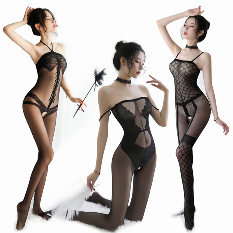 Porn Sex Underwear Black Latex Catsuit Women Erotic Bodysuit Sexy Teddy Lingerie Open Crotch Bodystockings Sexy Costumes