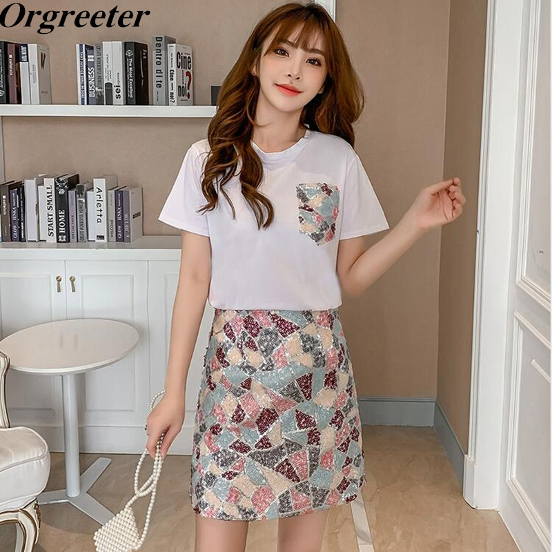 Fashion 2 Piece Set Female 2020 Summer New Ladies Simple White Tshirt + Colorful Mosaic Sequined Skirt Suits Casual Outfits