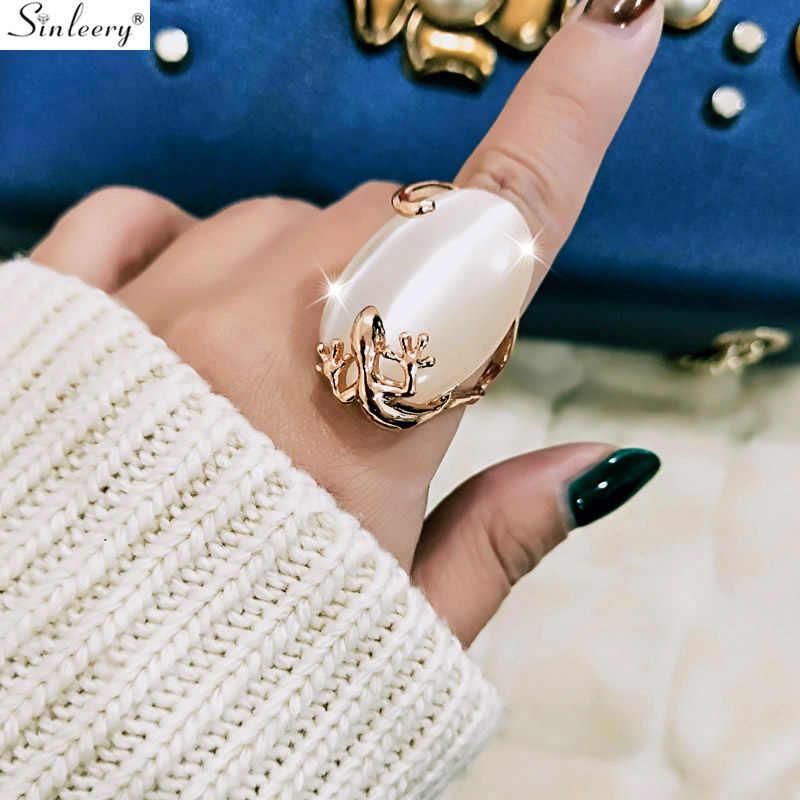 SINLEERY винтажный большой Опаловый камень в форме овала кольцо для женщин розовое