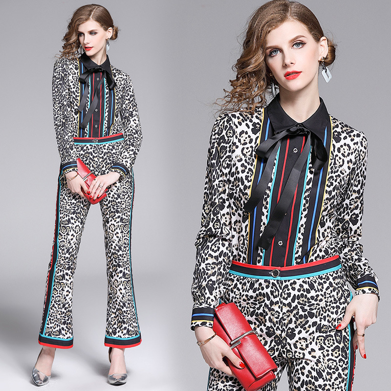 2019 New Style Europe And America Western Style Leopord Pattern Two-Piece Set WOMEN'S Dress-Style Lace-up Striped Shirt + Trumpe