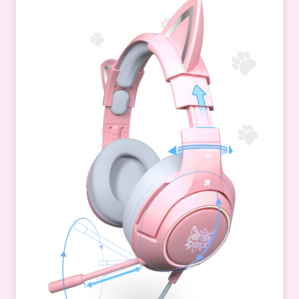 RGB Gaming 7.1 Stereo Headphones Pink Headset Removable Cat Ear Wired USB With Mic noise reduction For PS4/Xbox one cute Girl