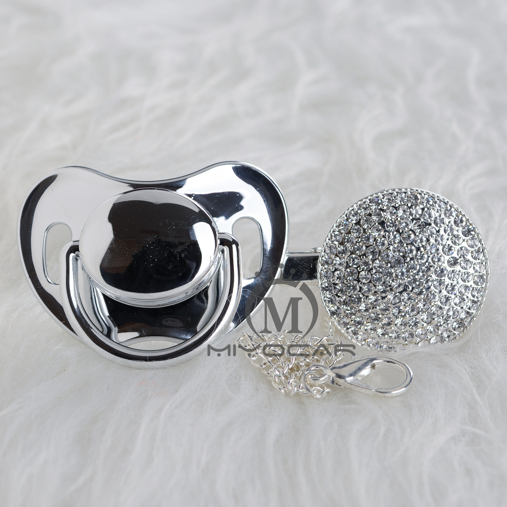 MIYOCAR BLING All Silver Gold Pacifier And Pacifier Clip Unique Design  Baby SGS Certificate Safe And Unique A9