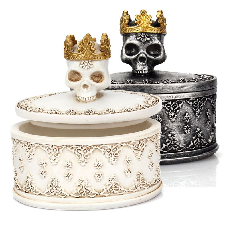 Creative Gothic Vintage Mini Storage Box Skeleton Skull Crown Jewelry Necklace Earromgs Organizer Holder With Dust Cover Desktop