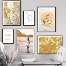 Girl Rose Peony Flower Leaf Quotes Wall Art Print Canvas Painting Nordic Posters And Prints Pictures For Living Room Decor
