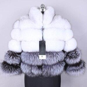 Image 5 - 100% wahre pelz mantel frauen warm und stilvolle natürliche fuchs pelz jacke weste Stehen kragen langarm leder mantel natürliche pelz mäntel