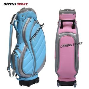 Женская модная сумка для гольфа DEZENS, синяя/Розовая стандартная шариковая упаковка с колесами