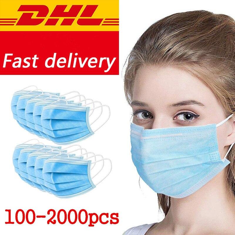 DHL/Fed Ship100/200/300/500/1000/2000pcs Disposable Mouth Masks Blue Earloop Face Masks Disposable Mask Protective Cltoth Mask