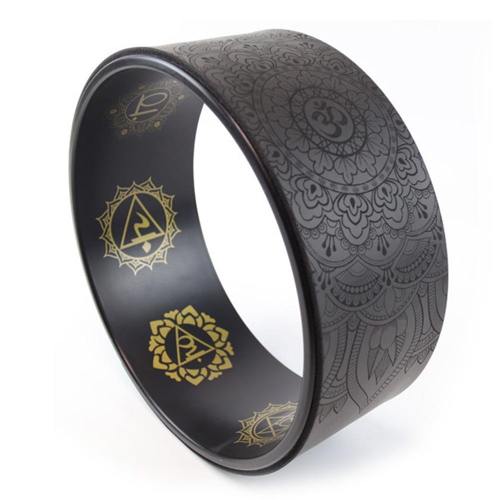 Printed Yoga Wheel Pilates Circle Natural Rubber Anti-slip Wheel Fitness Equipment Roller Wheel Back Training Ring