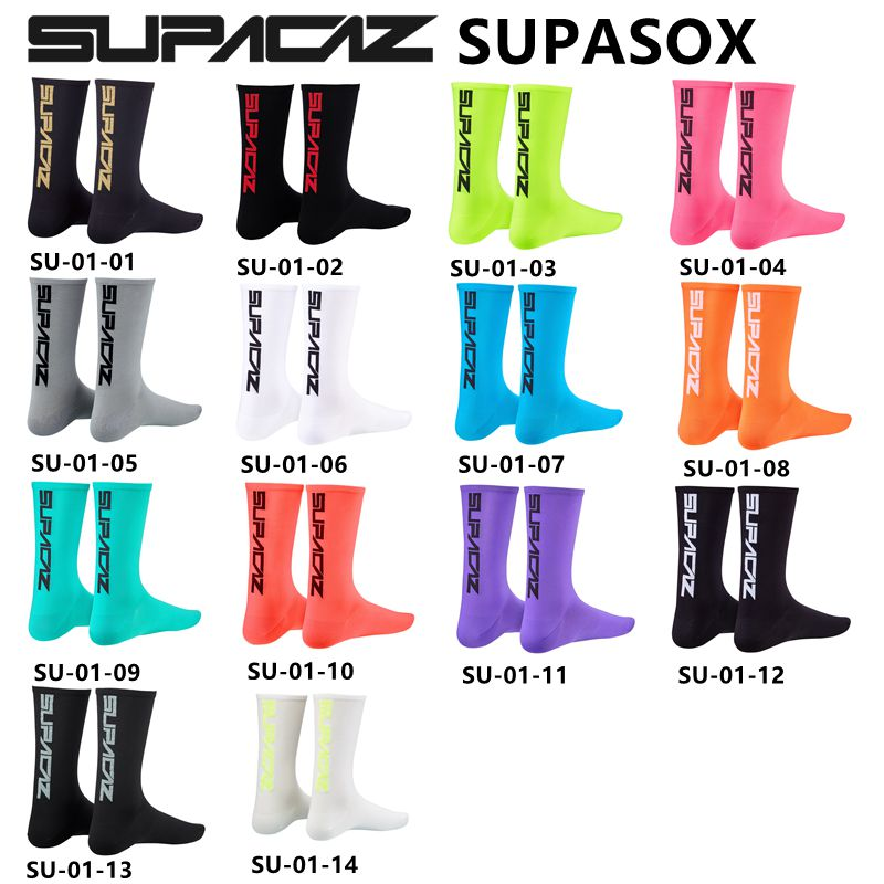SUPACAZ SupaSox Cycling Socks Racing Bicycle Sock Sports Sock Riding Running Socks Middle Tube