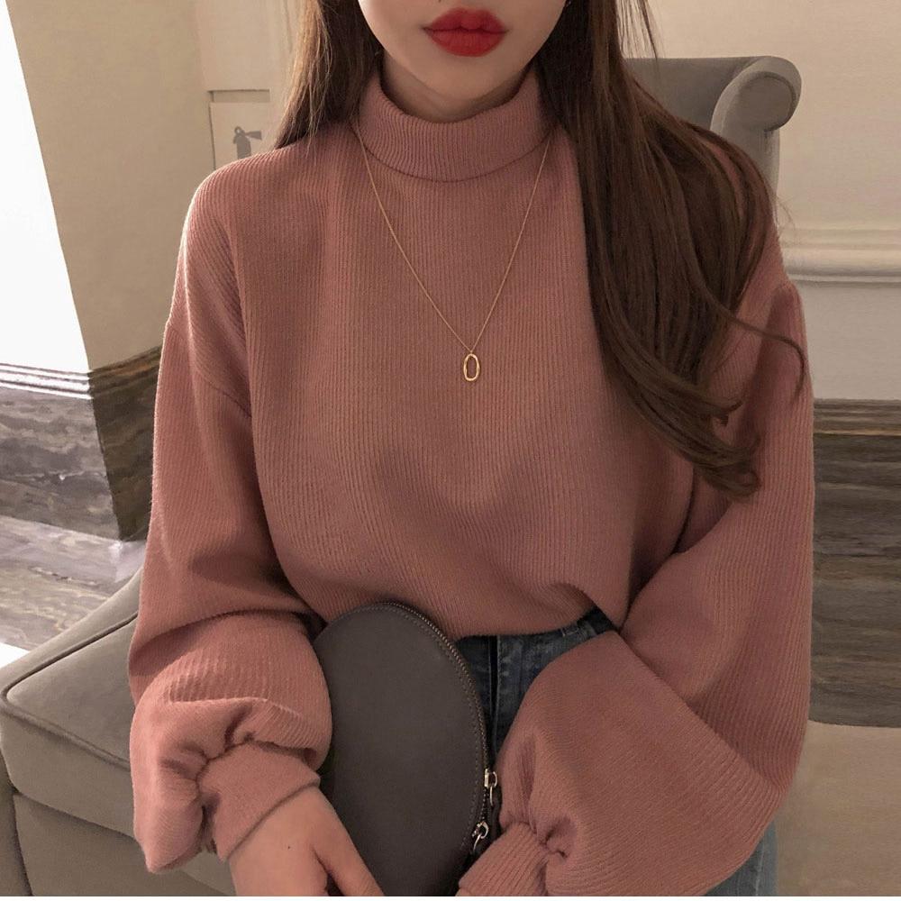 Korean Autumn Winter Turtleneck Hoodies Women Sweatshirts Lantern Sleeve Loose Vestidos Streetwear Pull Femme Casual Hoodies