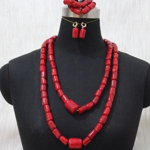 Image 4 - Più nuovo Dudo Dei Monili Africani Set di Gioielli Da Sposa Arancione Originale Branelli di Corallo Dei Monili Set Per Nigeriano Matrimoni Donne Libera La Nave
