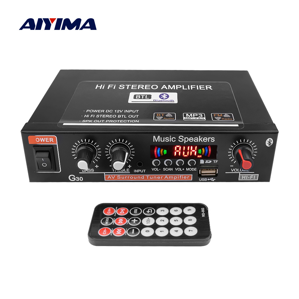 AIYIMA 12V Auto Verstärker Hallo-fi 2,0 Kanal Auto Audio Digital Bluetooth Verstärker Unterstützung FM TF Karte U Disk Remote auto Hause