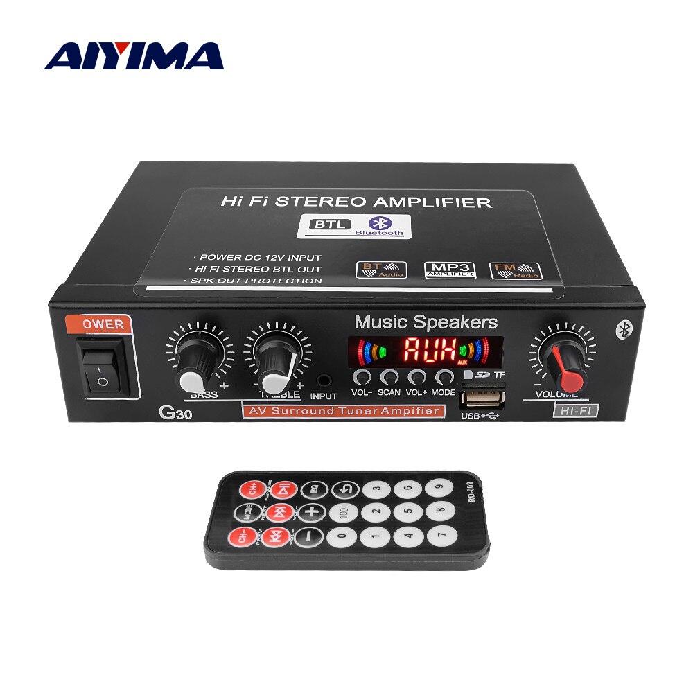 Aiyima 12 v amplificador do carro hi-fi 2.0 canais de áudio automático digital bluetooth amplificadores suporte fm tf cartão u disco carro remoto casa