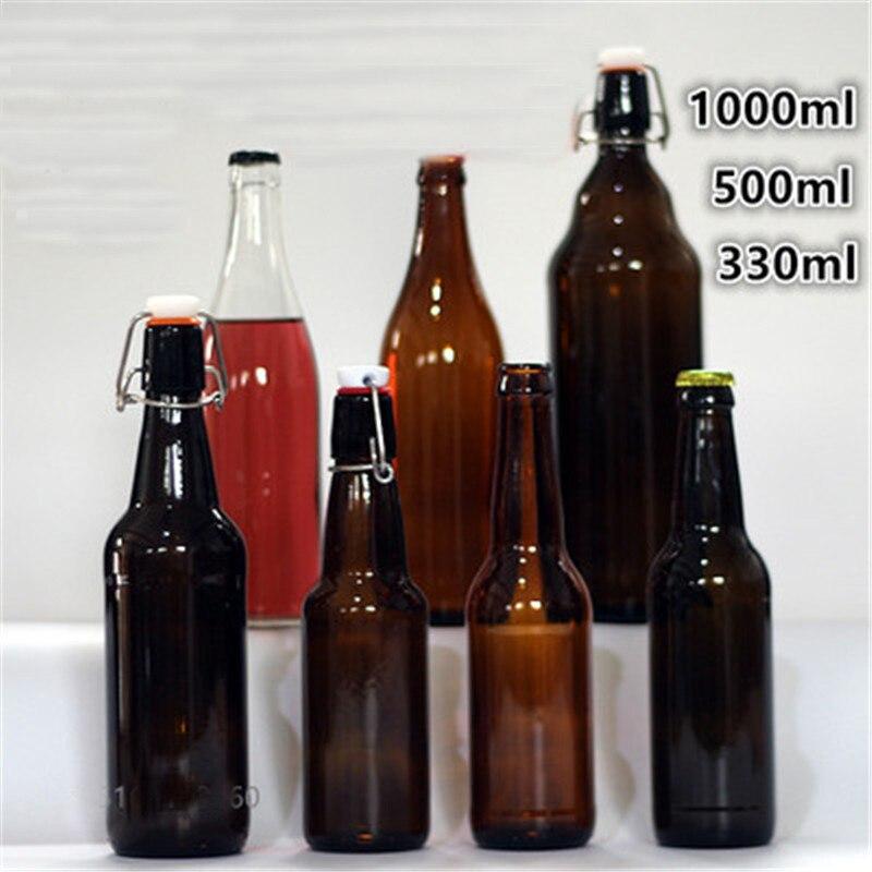 330ml/550ml bira şişeleri boş kahverengi cam şişe şarap için 1 adet