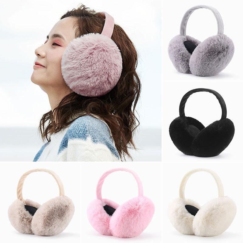 Faux Fur Solid Color Earmuffs Winter Ear Warmer Foldable Fluffy Plush Ear Muffs Adjustable Ear  Soft Ear Muffs Hot Sale