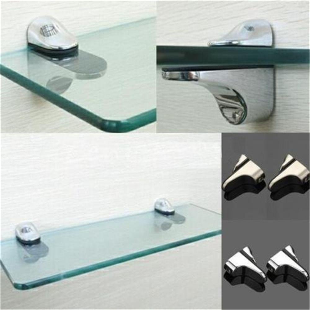 2Pcs Metal Adjustable Glass Shelf Holder Glass Clamps Shelf Support Bracket Glass Shelf Bracket Wall Mounted High Quality
