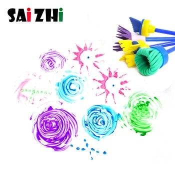 Saizhi 4Pcs/set Flower Paint Brush Rotate Spin Sponge Kids Children Graffiti Art Drawing Painting Toy School Stationery Supplies