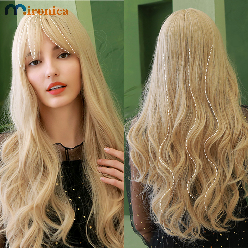 Pelucas de cabello humano ondulado con cuerpo de rubio miel para mujer, de 28 pulgadas cabello largo, 613 marrón claro, cabello Remy rizado hecho a máquina con flequillo