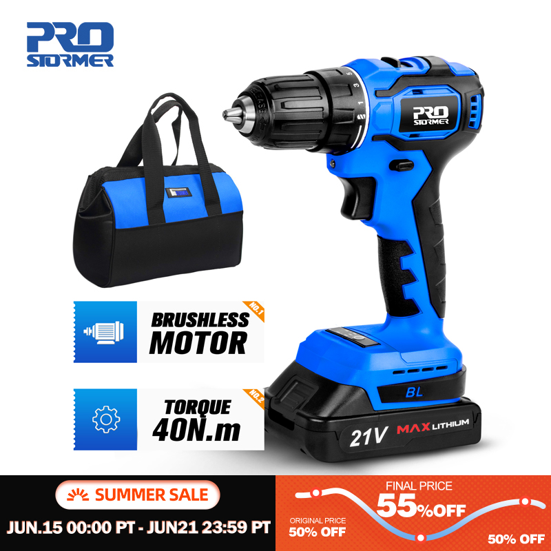 21V Brushless Electric Drill 40NM Cordless Screwdriver 2000mAh Battery Mini Electric Power Screwdriver 5pcs Drill Bit PROSTORMER|Electric Drills|   - AliExpress